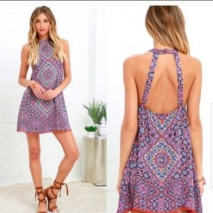 Mink Pink Up All Night Cover Up Halter Dress Sz S
